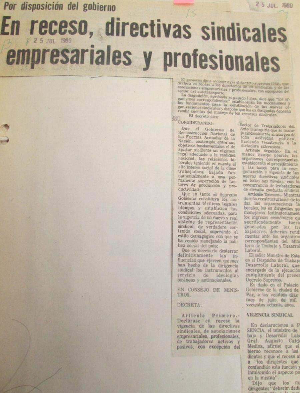 Por disposición del gobierno. En receso, directivas sindicales empresariales y profesionales (Presencia, 25.07.1980)