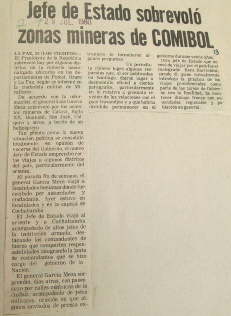 Jefe de Estado sobrevoló zonas mineras de COMIBOL (Los Tiempos, 29.07.1980)