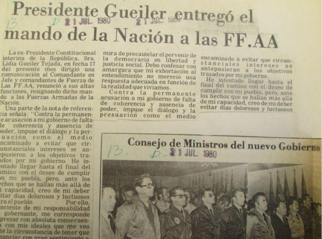Presidente Gueiler entregó el mandato de la Nación a las FF.AA (El diario, 21.07.1980)