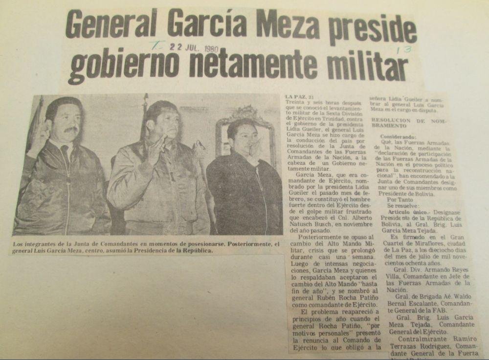 General García Meza preside gobierno netamente militar (Los Tiempos, 22.07.13)