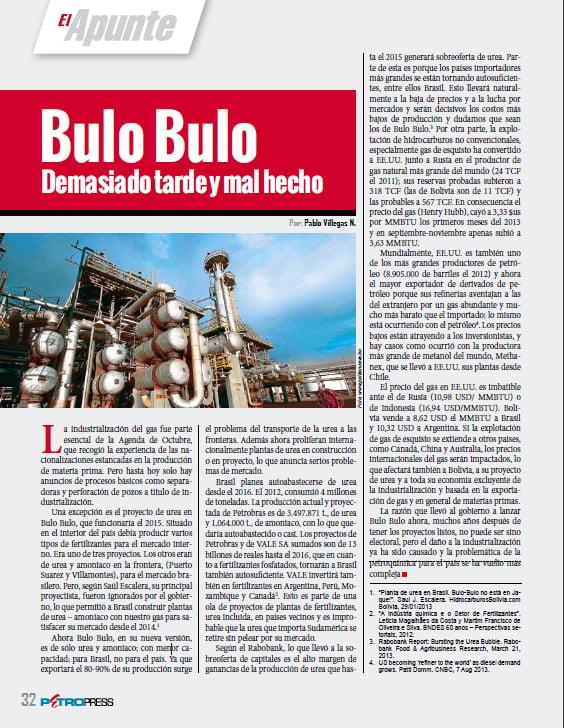 Bulo Bulo: Demasiado tarde y mal hecho (Petropress 32, 12.13)