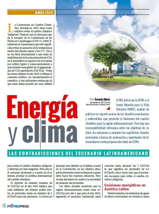 Energía y clima. Las contradicciones del escenario latinoamericano (Petropress 32, 12.13)