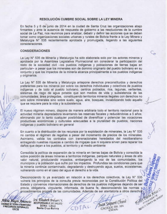 Resolución de la Cumbre social de las tierras bajas sobre la Ley Minera