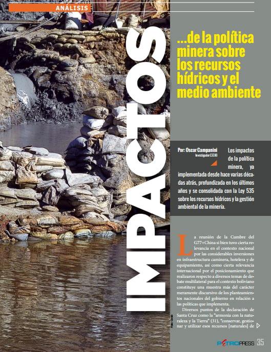 Impactos de la política minera sobre los recursos hídricos y el medio ambiente (Petropress 33, 10.14)
