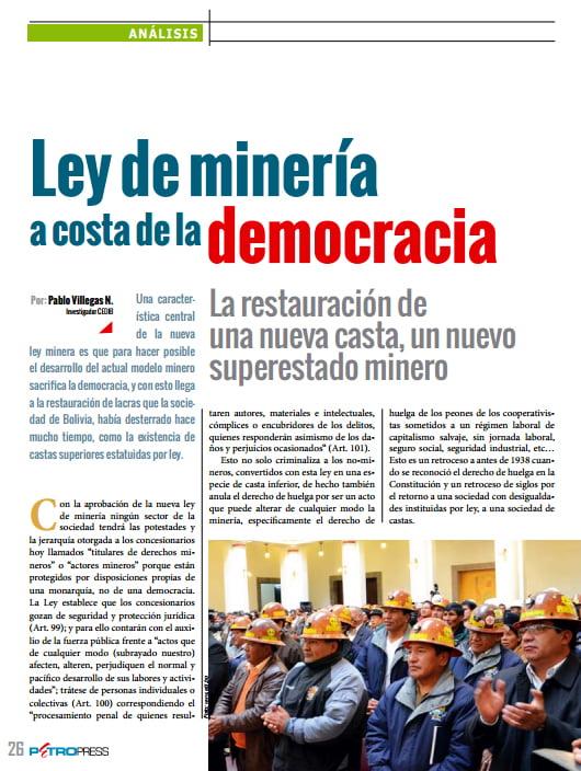 Ley de minería a costa de la democracia (Petropress 33, 10.14)