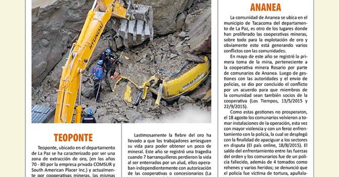 Crónica de conflictos mineros en Bolivia (Enero – Noviembre, 2015) (Petropress 35, 3.16)
