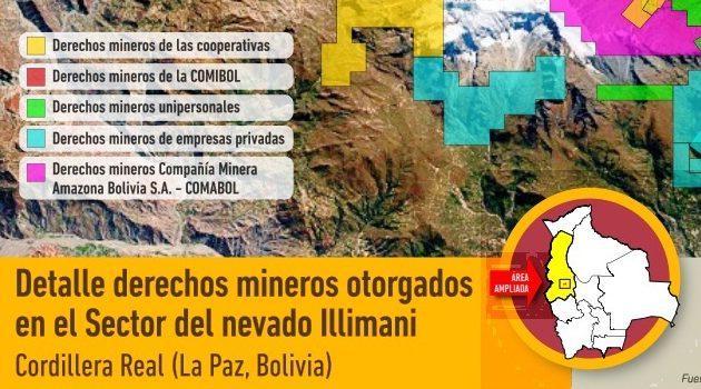 Derechos mineros otorgados en el sector del nevado Illimani