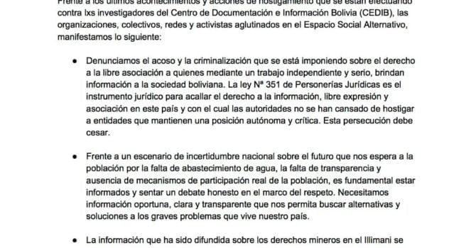 Pronunciamiento del Espacio Social Alternativo en Solidaridad con el Centro de Documentación e Información Bolivia – CEDIB