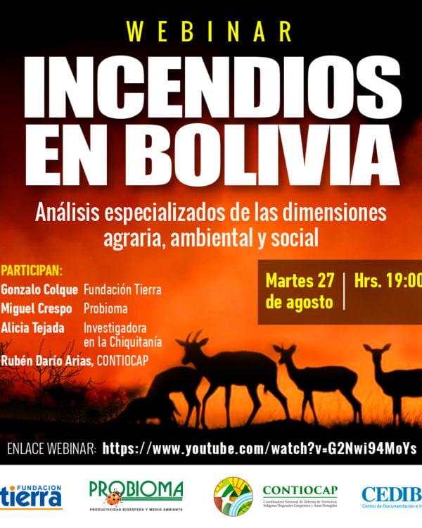 Incendios en Bolivia. Análisis especializados en las dimensiones agraria, ambiental y social