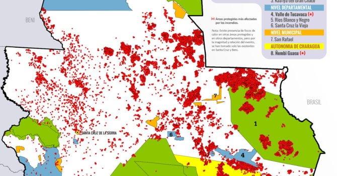 Mapa: Incendios en áreas protegidas (2 al 27 de agosto 2019)