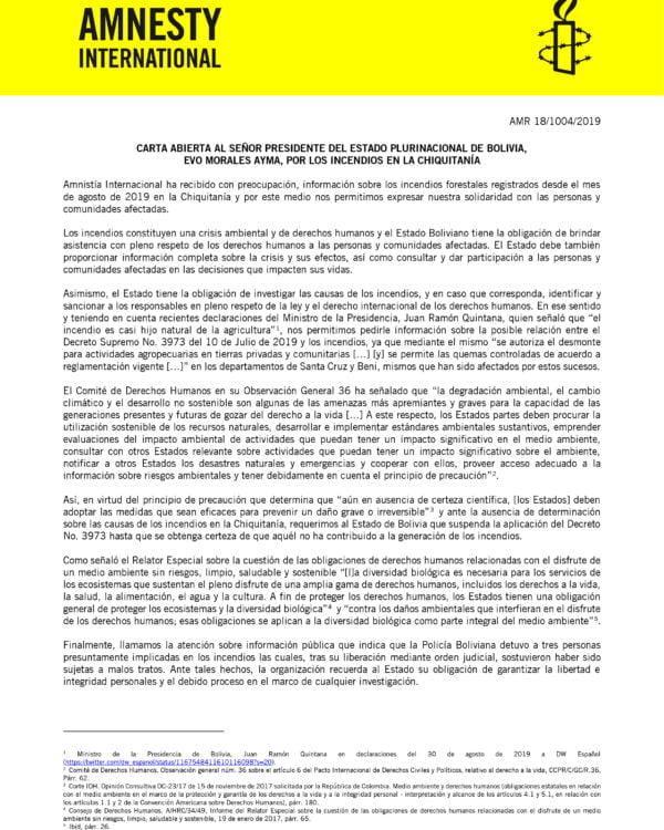 Carta abierta al señor presidente del Estado Plurinacional de Bolivia, Evo Morales Ayma, por los incendios en la Chiquitanía