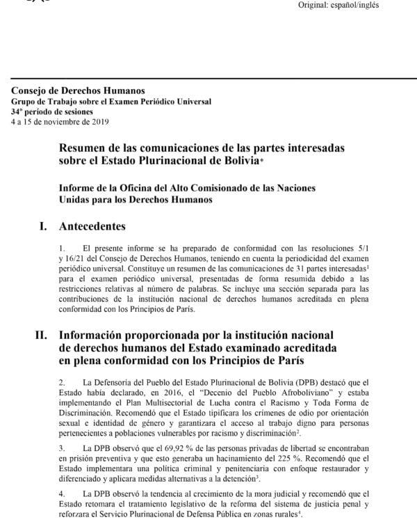 Recomendaciones del Alto Comisionado de la ONU para el examen sobre DDHH a Bolivia