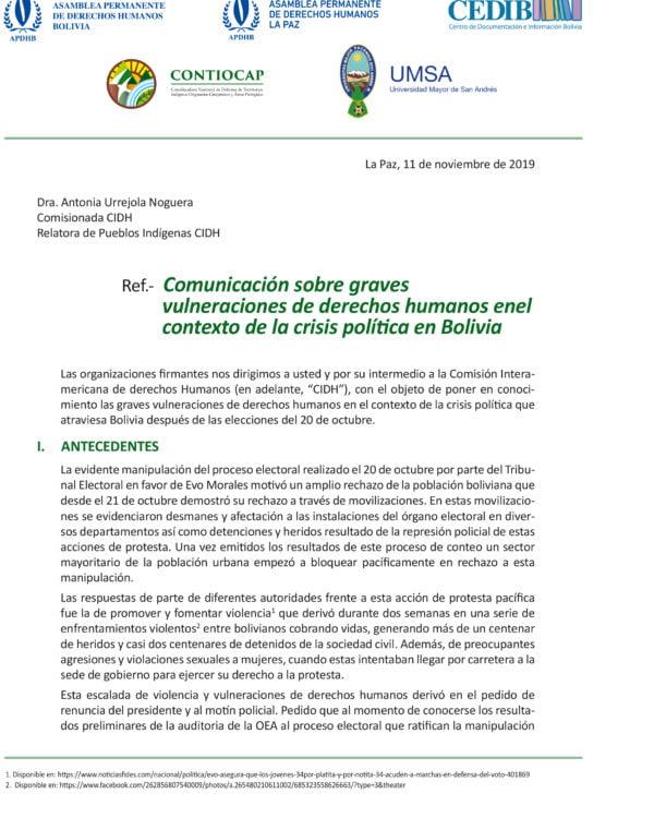 Comunicación sobre Graves vulneraciones de derechos humanos en el contexto de la crisis política en Bolivia (11.11.19)
