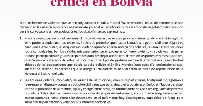 Defensores de Derechos Humanos ante la situación crítica en Bolivia (19-11-19)