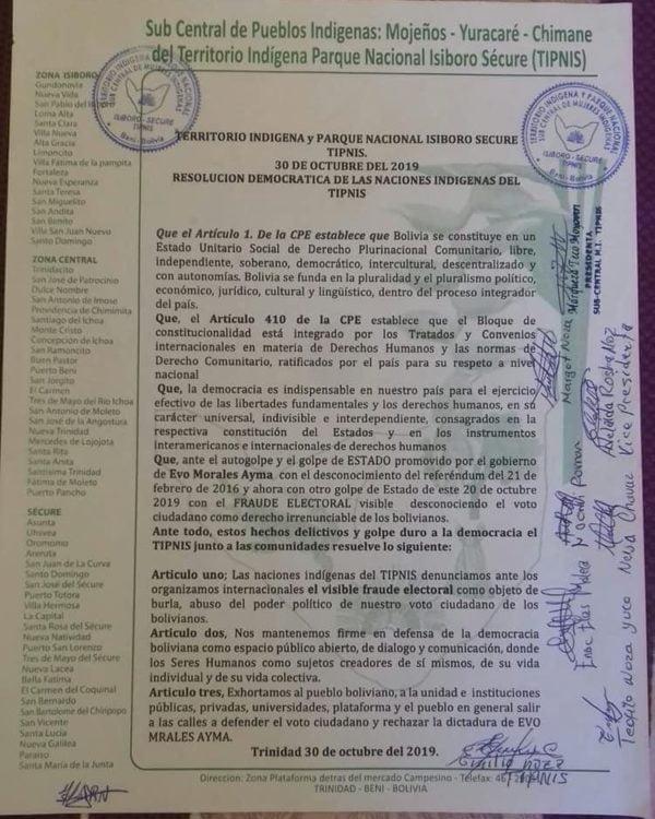 Pronunciamiento indígenas TIPNIS sobre crisis en Bolivia (30.10.19)