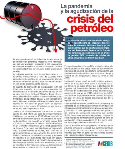 La pandemia y la agudización de la crisis del petróleo