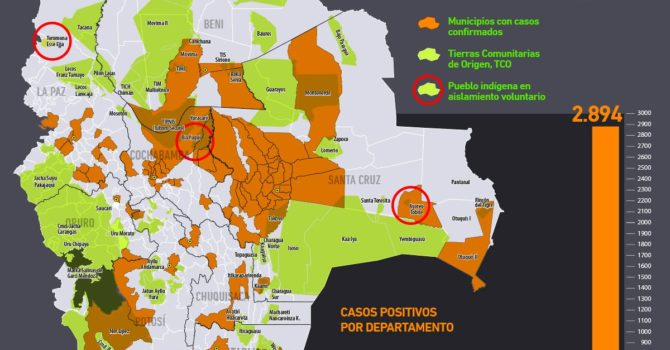 Mapa casos positivos de coronavirus y Tierras Comunitarias de Origen, TCOs (18.5.20)