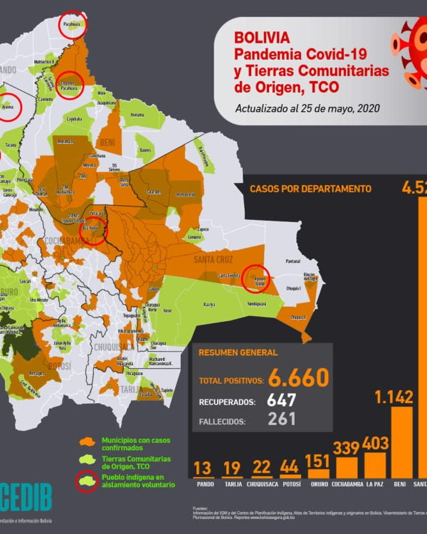 Mapa casos positivos de coronavirus y Tierras Comunitarias de Origen, TCOs (20.5.20)