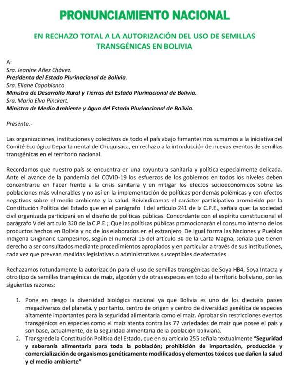 Pronunciamiento nacional en rechazo total a la autorización del uso de semillas trasngénicas en Bolivia (Mayo,2020))