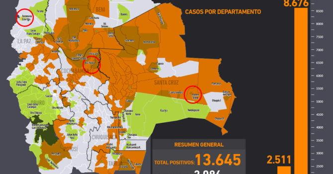 Mapa casos positivos de coronavirus y Tierras Comunitarias de Origen, TCOs (7.6.20)