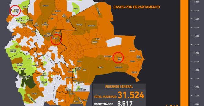 Mapa casos positivos de coronavirus y Tierras Comunitarias de Origen, TCOs (29.6.20)