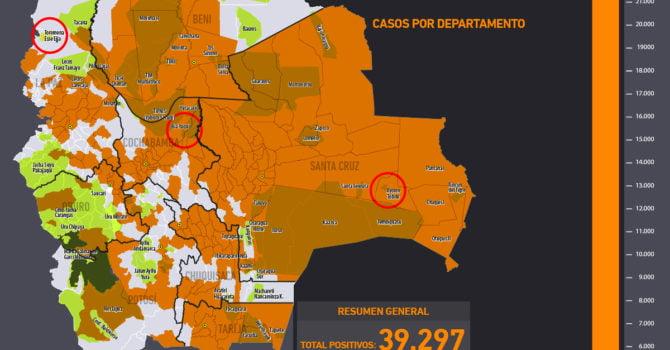 Mapa casos positivos de coronavirus y Tierras Comunitarias de Origen, TCOs (5.7.20)