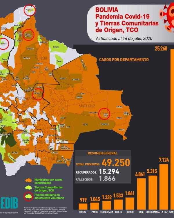 Mapas casos positivos de coronavirus y Tierras Comunitarias de Origen, TCOs (al 20.7.20)