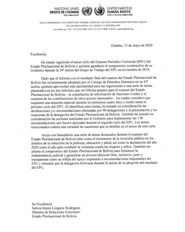 Carta de Bolivia Alta Comisionada ONU para los Derechos Humanos a la Cancillería de Bolivia en relación al Examen Periódico Universal