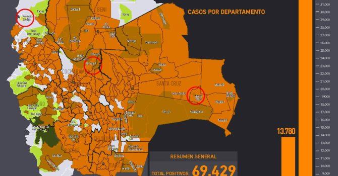 Evolución de mapa casos positivos de coronavirus y Tierras Comunitarias de Origen, TCOs (2020)