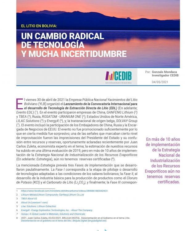 El litio en Bolivia: un cambio radical de tecnología y mucha incertidumbre